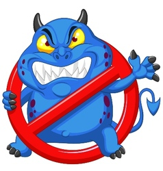 Cartoon Stop virus - blue virus in red alert sign vector image