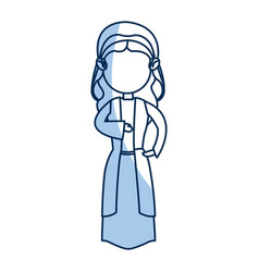 Cartoon virgin mary manger christmas outline icon vector