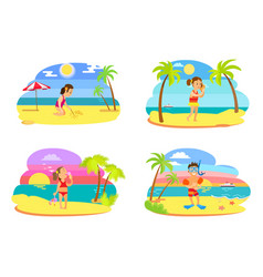 childrens activity on beach summertime vector image
