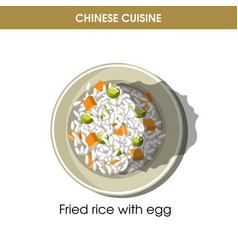 Chinese cuisine fried rice eggs traditional dish vector