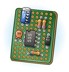 Circuit board pcb cartoon vector