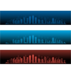 City Skylines in two night versions and sunset vector