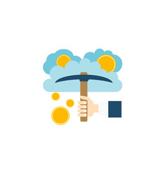 cloud mining concept flat icon vector image