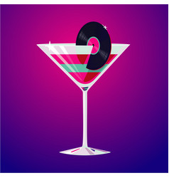 Cocktail party club drink decorated vinyl disc vector