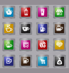 coffee glass icons set vector image