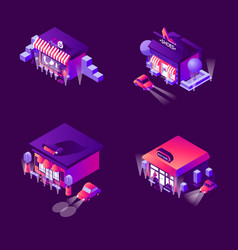 collection with night boutiques and fashion vector image