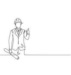Continuous one line drawing architect vector