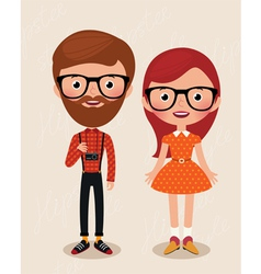 Couple hipsters vector image