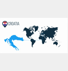 Croatia location on the world map for vector
