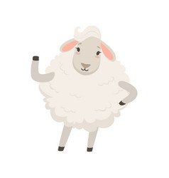 cute white sheep character waving its hand funny vector image