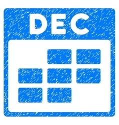 December Calendar Grid Grainy Texture Icon vector