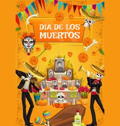 dia de los muertos day dad skeleton fiesta vector image