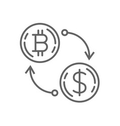 dollar currency exchange bitcoin thin line symbol vector image