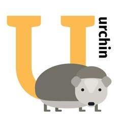 English animals zoo alphabet letter u vector