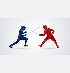 fencing fighter sport action graphic vector image