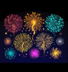 fireworks celebration of holiday night sky light vector image