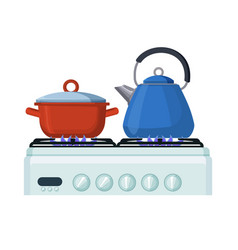 gas stove with pan and kittle home kitchen food vector image