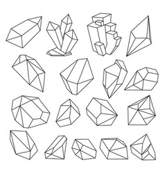 geometric 3d crystal line shapes set vector image