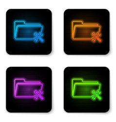 glowing neon folder with screwdriver and wrench vector image