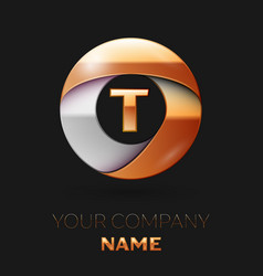 golden letter t logo in the golden-silver circle vector image