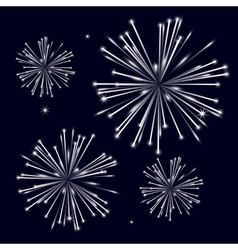 Grayscale shiny fireworks on black background vector
