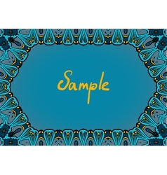 Hand drawn frame in indian style dominate blue vector image