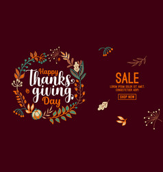Hand drawn happy thanksgiving typography in autumn vector