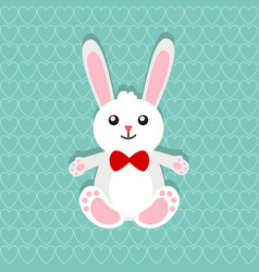 happy easter bunny over seamless pattern of hearts vector image