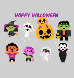happy halloween character set vector image