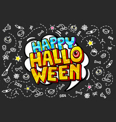 Happy halloween message black board vector