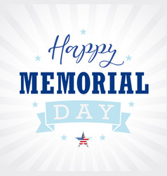 happy memorial day usa star ribbon stripes letters vector image