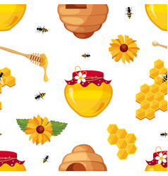 honey bee honeycomb jar and flowers seamless vector image