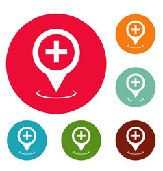 hospital map pointer icons circle set vector image