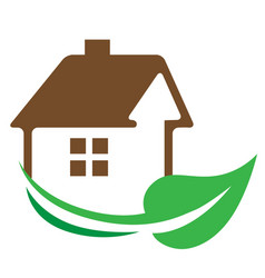 house and green leaf vector image