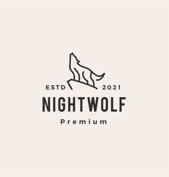 howling wolf line monoline hipster vintage logo vector image