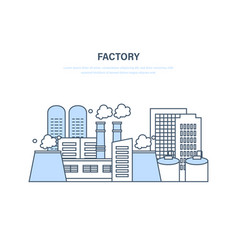 industrial factory in city street urban landscape vector image