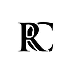 initial rc alphabet logo design template vector image