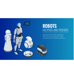 isometric concept robot programming robots vector image
