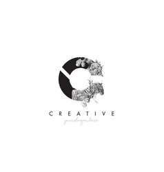 Letter c logo design icon with artistic grunge vector