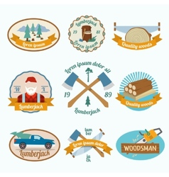 Lumberjack woodcutter label vector image