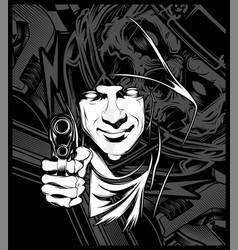 man holding a gun vector image