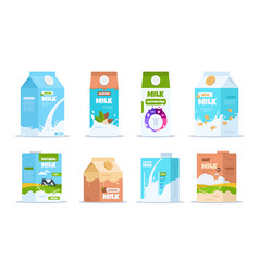 milk box cartoon food containers with almond vector image