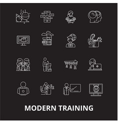 modern training editable line icons set on vector image