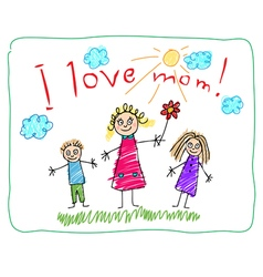 mothers day kids drawning vector image vector image