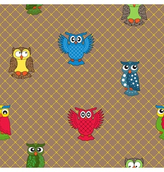 Multicolour owl seamless pattern vector