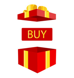 open gift box with big sale button cartoon simple vector image