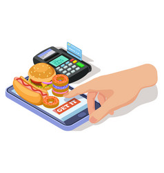 order food with phone isometric vector image