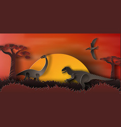 paper art of dinosaur in forest with vector image