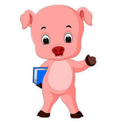Pig holding book vector
