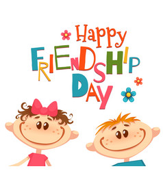 poster with friendship day title and children vector image